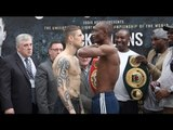 JULIUS INDONGO TAUNTS RICKY BURNS WITH CUT-THROAT SIGN - FULL WEIGH IN FROM GLASGOW /BURNS v INDONGO