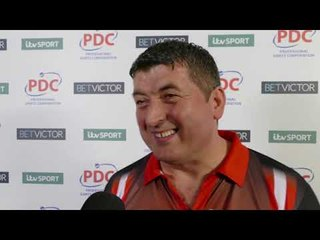 Delighted Mensur Suljovic after Thrashing Simon Whitlock 10-1 at The Masters