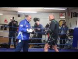 TYSON FURY COMPLETE PAD WORKOUT WITH HIS FATHER JOHN FURY / FURY v HAMMER
