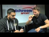 EDDIE HEARN TAKES THE  30-SECOND MUSCLE FOOD FLAPJACK CHALLENGE & EATS A CHILLI GRASSHOPPER!!!