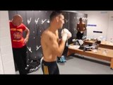 IN THE INGLE DRESSING ROOM WITH LEIGH WOOD AS HE WARMS UP IN DERBY