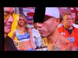 MIGUEL COTTO TALKS TO THE MEDIA & CROWD AFTER HE MAKES WEIGHT/  COTTO v CANELO