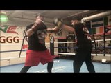 QUICK HANDS FOR A BIG MAN! HEAVYWEIGHT ANDY RUIZ SHOWS HIS HAND SPEED & POWER (PAD WORK)