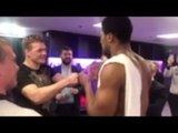 ANTHONY JOSHUA SHOWS HIS CLASS AS HE EMBRACES ALEXANDER POVETKIN AFTER FIGHT IN DRESSING ROOM