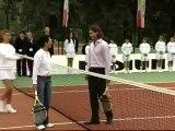 Ana Patricia Botín y Rafa Nadal juegan al tenis