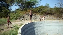 How to swim at the local pool - or water well! Its summer so the water has gone down where previously the water was to the brim!