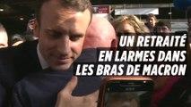 Un retraité en larmes dans les bras de Macron au Salon de l'Agriculture