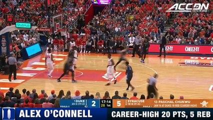 Duke's Alex O'Connell Has Career Night Against Syracuse