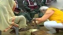 PM Modi washes the feet of sanitation workers in Prayagraj