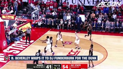 NC State's Braxton Beverly Whips It To DJ Funderburk For The Dunk