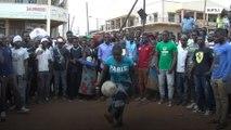 Keepie-uppie queen dazzles crowds around Africa