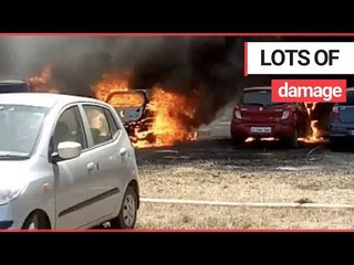 200 vehicles were destroyed by a fire which swept through an Air Force car park | SWNS TV