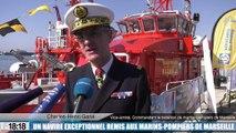 Marseille : champagne pour le second bateau-pompe des marins-pompiers