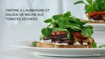 Tartine à l'aubergine et salade de mâche aux tomates séchées