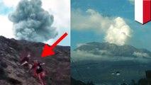 Video viral 3 Pendaki Asing panik turun ke bawah saat Gunung Agung erupsi - TomoNews