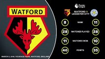 Feature: All the data ahead of Watford against Leciester City