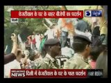 ABVP and BJP youth wing protesting outside IP College against Delhi CM Arvind Kejriwal