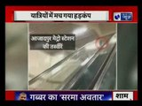Delhi: Monkey having fun ride in escalators of Azad Nagar metro station