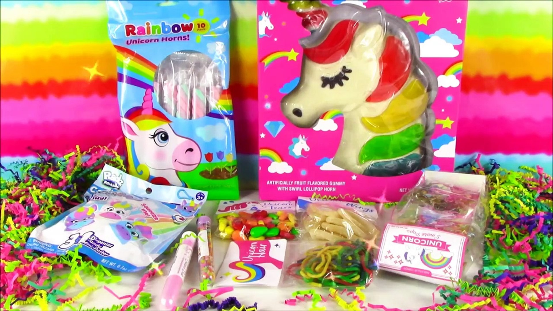 A Lot Of New Candy 10! Huge Unicorn Gummy! Unicorn S'mores POP! Sour Hair! Unico