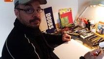 Le dessinateur François Roussel dessine  un piranha