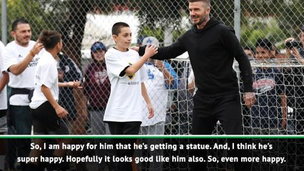 Zlatan hopes Beckham likes his statue, and it looks like him!