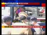 Protests outside Chinese Embassy, several Tibetan protesters arrested