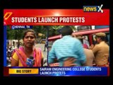 Students of an engineering college in Chennai protest against college management for dress code