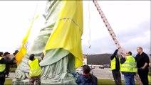 À Colmar la statue de la Liberté se drape de jaune