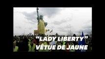 La statue de la liberté (de Colmar) a revêtu un gilet jaune