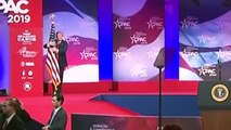 Donald Trump caresses US flag, then slams Mueller