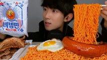 (ENG SUB) ASMR EXTREME Spicy Korean Cold noodles pork Sausage Social EATING SOUNDS Mukbang Show 괄도네넴띤 + 삼겹살+킬바사소세지 리얼사운드 먹방 ASMR