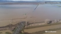 Dramatic aerial of flooding after another round of storms