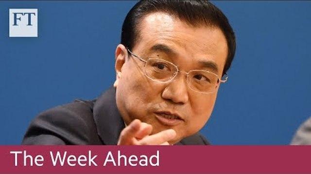 China sets growth target, US jobs data, Aviva results