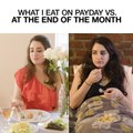 What I Eat on Payday Vs. At The End of The Month