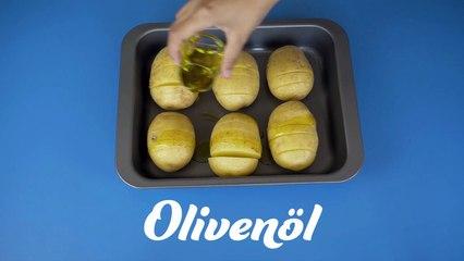 überbackene Hasselback-Kartoffeln