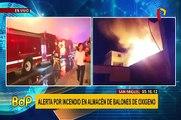San Miguel:  alerta por incendio en almacén de balones de oxígeno