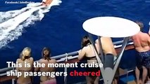 Cruise Ship Passengers Cheer As They Watch Plane Crash Survivors Being Rescued At Sea