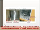 Starstar 19 Inch Topmount  Drop In Stainless Steel Single Bowl Kitchen Sink 16 Gauge