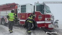 Firefighters battle dangerous windy conditions in windy accident
