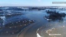 Drone reveals widespread flooding near Wahoo, Nebraska