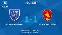 J26 : FC Villefranche B. - Rodez Aveyron F. (1-1), le résumé