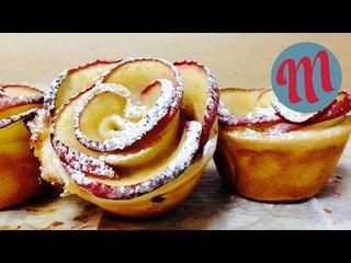 Rosas de tarta de manzana con hojaldre o pasta brisa