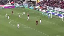 Iniesta falls over advertising board after assisting Podolski in J-League