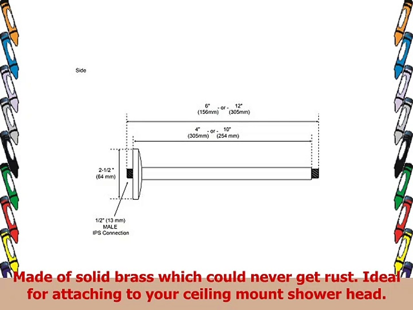 Naiture 12 Brass Ceiling Mount Shower Arm with Round Flange in Brushed Nickel Finish