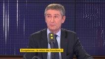 """Européennes : """"Les frontières et l'espace Schengen ne remplissent pas leur devoir et donc pour un temps qui sera un temps plus ou moins long nous souhaitons rétablir les frontières françaises"""", explique Frédéric Péchenard"""