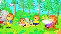 Lion de la Famille de dessin animé pour Enfants les Repas sur le Gril pour la fête des pères