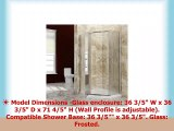 SUNNY SHOWER Frosted Shower Door with Shower Base 14 Glass NeoAngle Pivot Shower