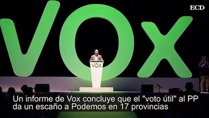 Un informe de Vox concluye que el voto útil al PP da un escaño a Podemos en 17 provincias