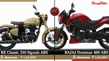 2019 Royal Enfield Classic 350 Signals ABS VS 2019 BAJAJ Dominar 400 ABS | New Royal Enfield Classic 350 Signals VS New Bajaj Dominar 400 ABS