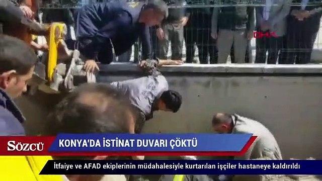 Konya'da İstinat duvarı çöktü 4 işçi enkaz altında kaldı